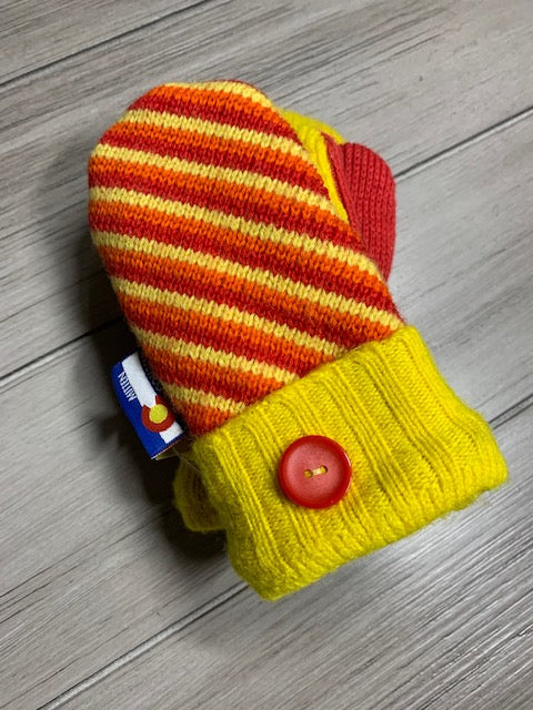 Toddler Mittens Yellow with Stripes