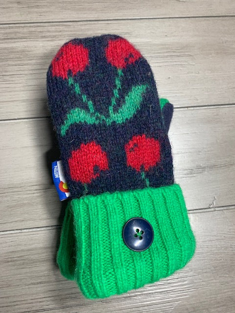 Kids Mittens Green with Cherries