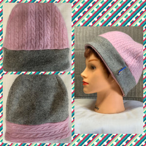 Woman's Cashmere Hat Pink/Grey