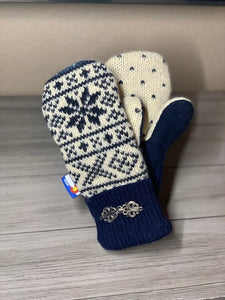 Women's Large Mittens Blue/Cream with Snowflake