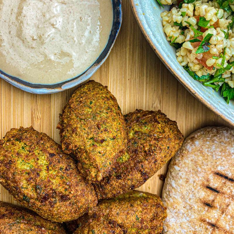 Lebanese Spiced Falafels with Tahini and Tabouleh