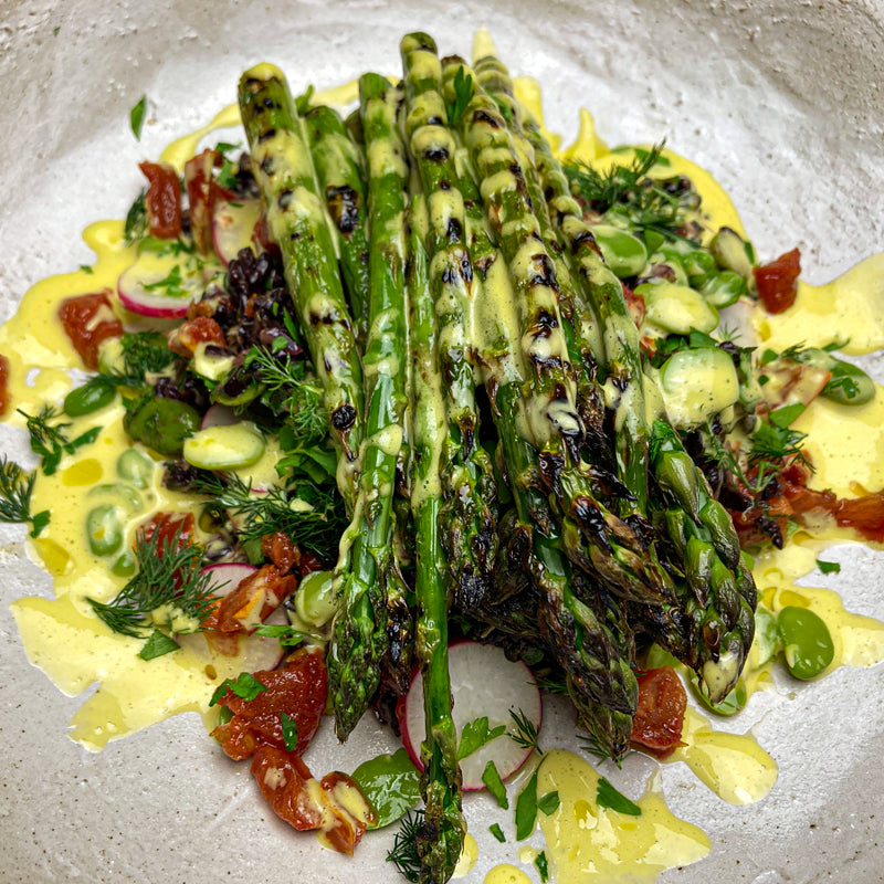 Grilled Asparagus with Warm Black Rice Salad, Broad Beans, Confit Tomatoes and Lemon & Garlic Dressing