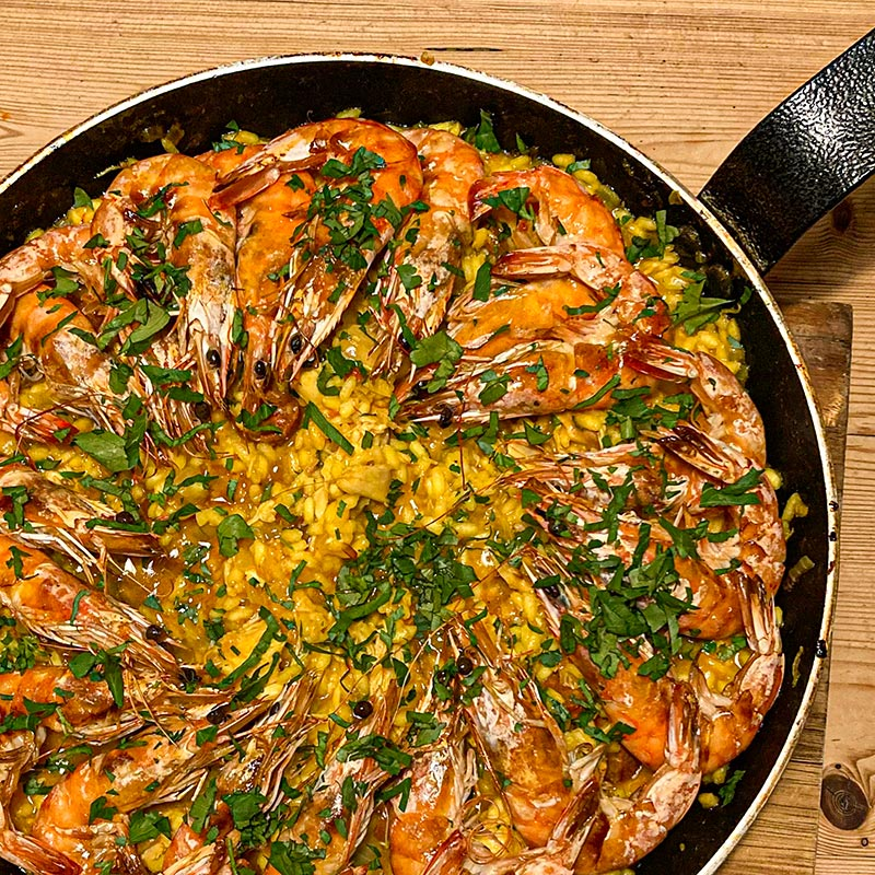King Prawn Paella with Chicken, Chorizo & Saffron