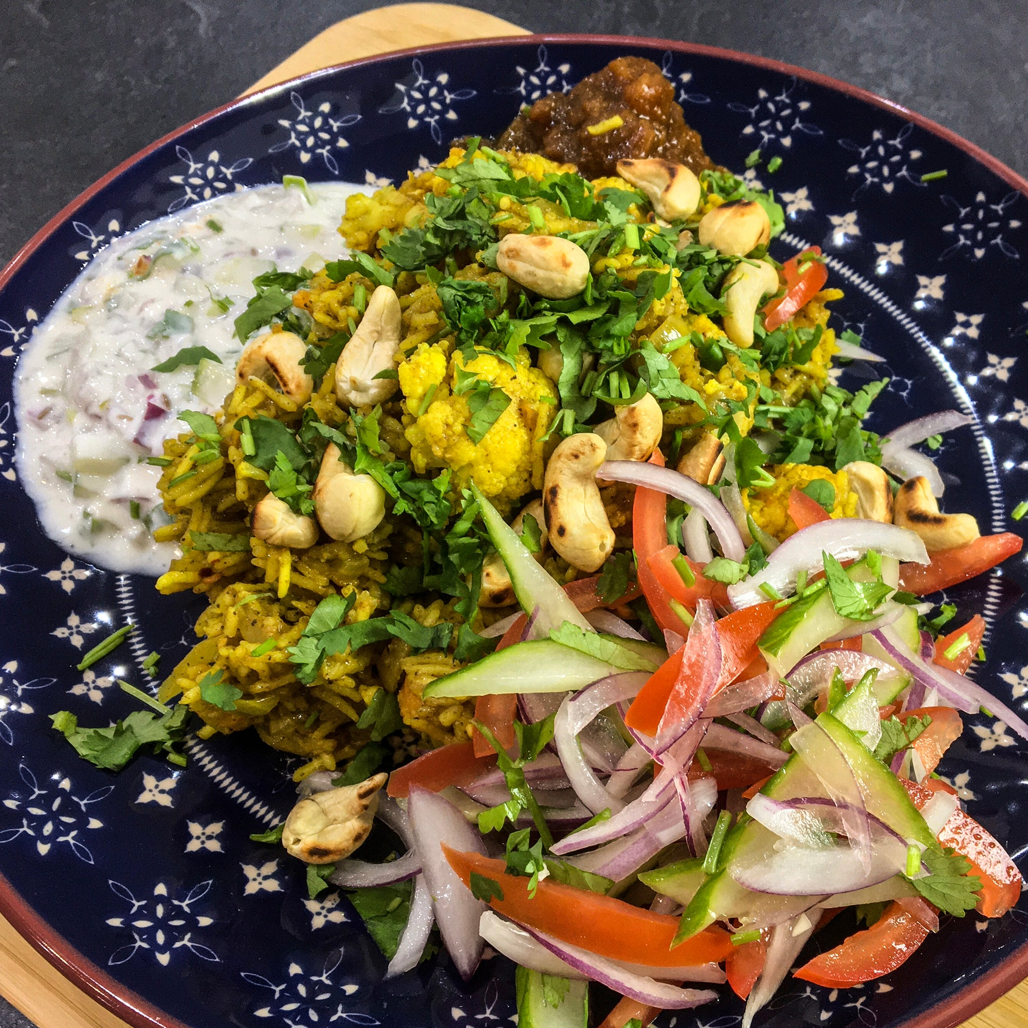 Cauliflower & Sweet Potato Biryani with Roasted Cashew Nuts