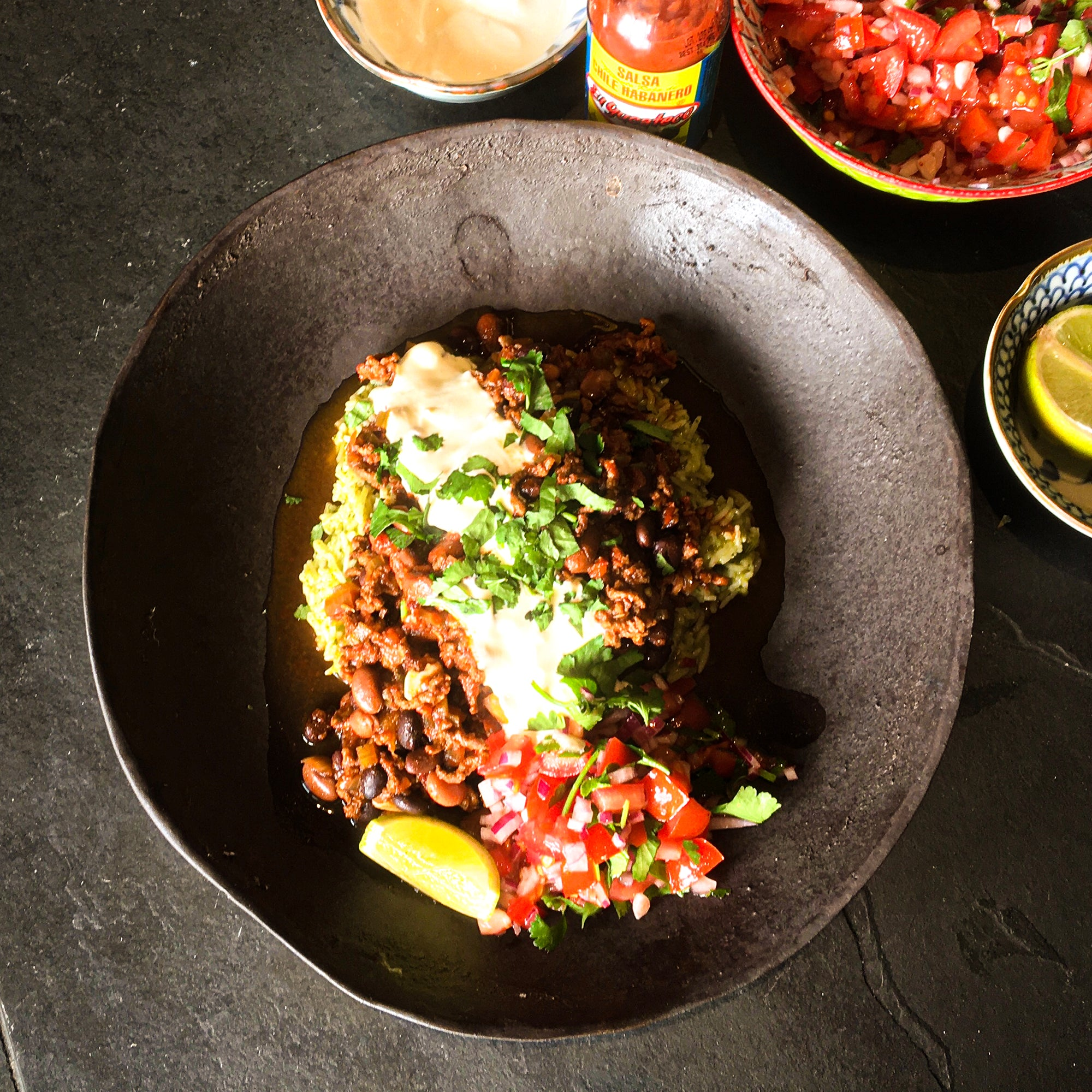 Best Ever Chilli Con Carne with Habanero Salsa & Mexican Green Rice