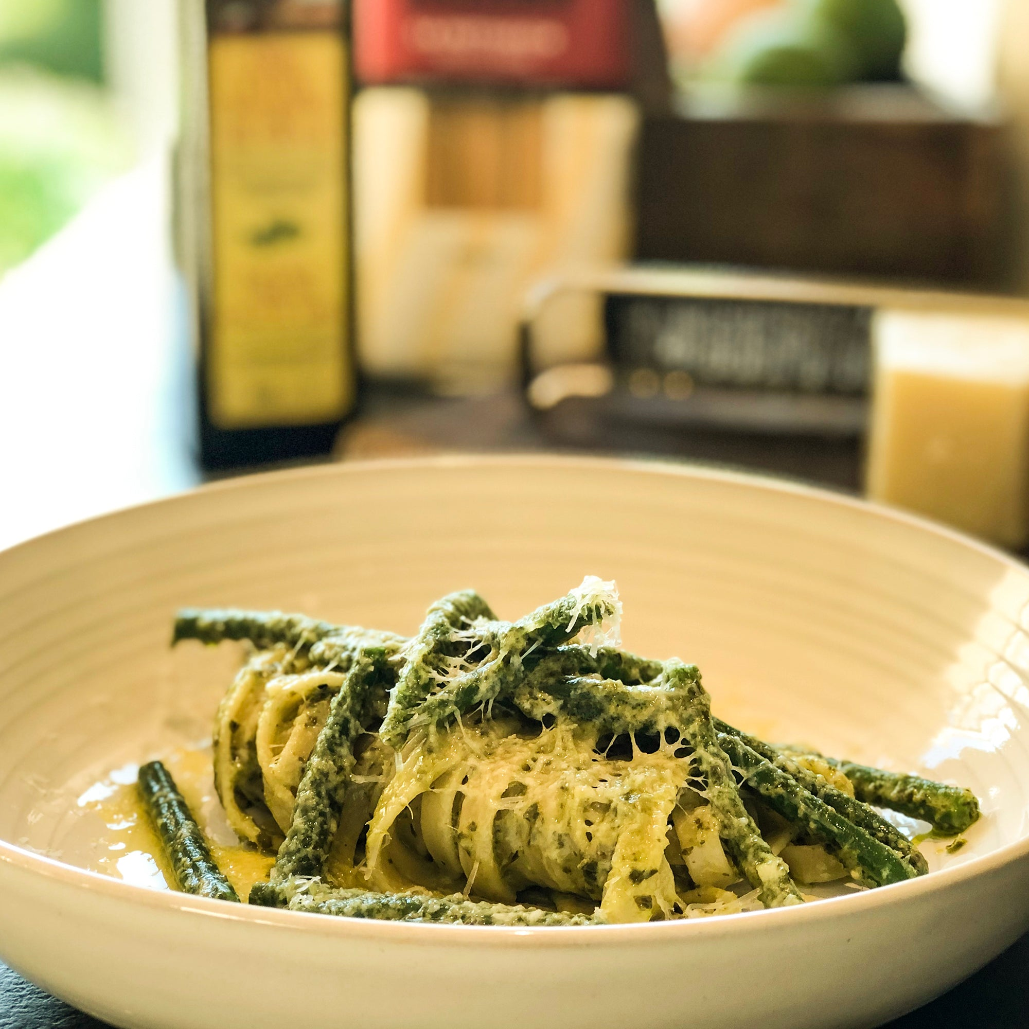 Fettuccine Pasta with Pesto, Green Beans and Pecorino Cheese