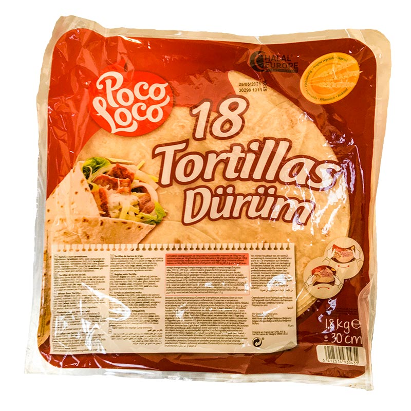 Large 12'' Tortilla Wraps, 18pcs