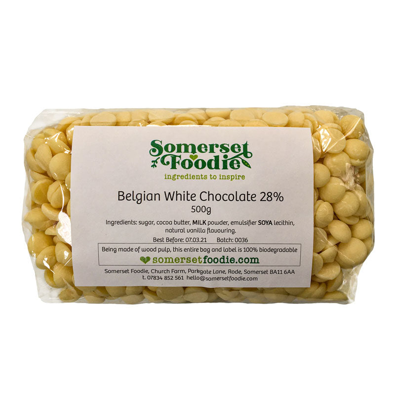Belgian White Chocolate Pistoles (28%), 500g