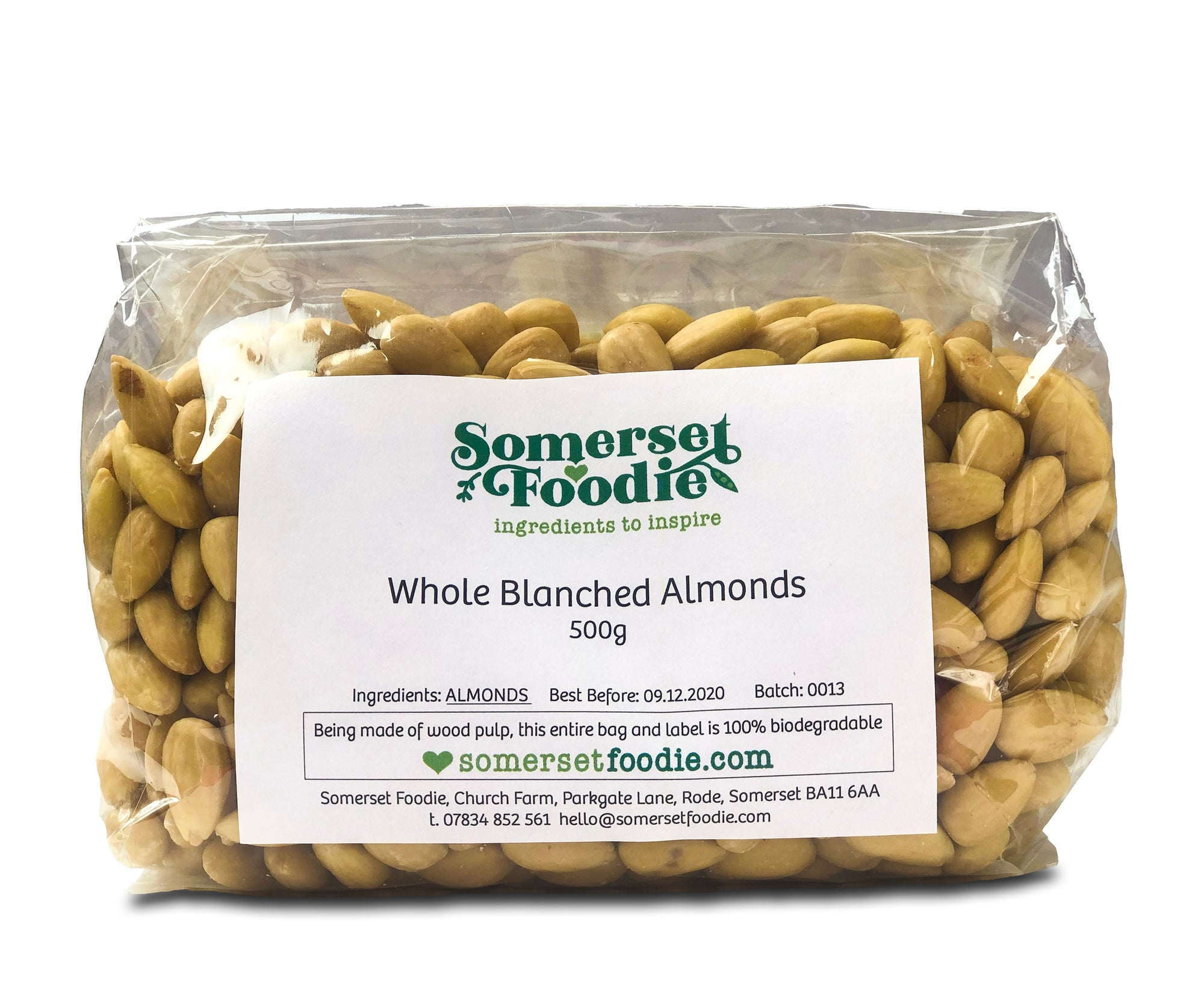 Whole Blanched Almonds (no skin), 500g