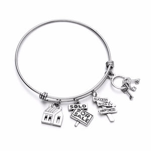 Stainless Steel Wire Bangle House Sold Realtor Charm Bracelet