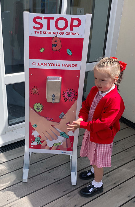 School Free Standing Single Dispenser Hand Sanitising Unit