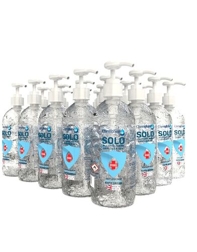 Solo - Alcohol Hand Sanitiser Gel 20 x 500ml with pump
