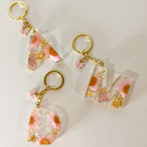 Pink Flower Initial Keychain