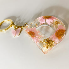Load image into Gallery viewer, Pink Flower Initial Keychain