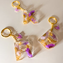Load image into Gallery viewer, Purple Flower Initial Keychain