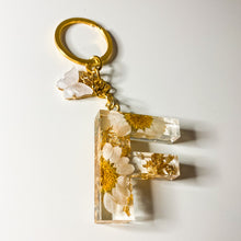 Load image into Gallery viewer, White Flower Initial Keychain