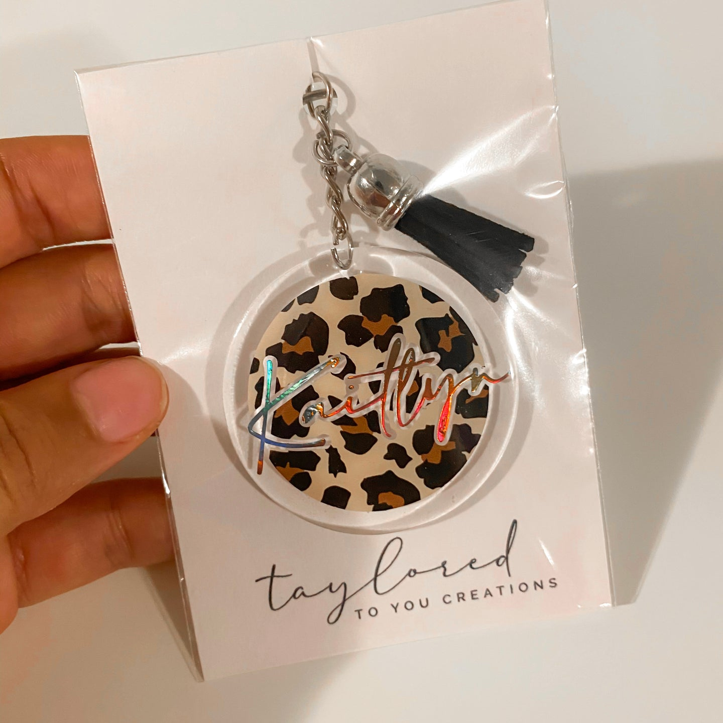 Custom Cheetah Name Keychain