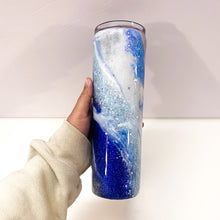 Load image into Gallery viewer, Royal Blue Marble 30 oz Glitter Tumbler