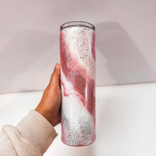 Load image into Gallery viewer, Pink Marble 30 oz Glitter Tumbler