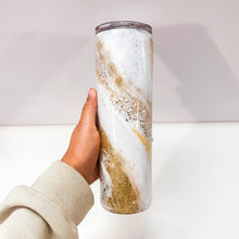 Load image into Gallery viewer, Gold Marble 30 oz Glitter Tumbler
