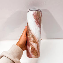Load image into Gallery viewer, Rose Gold Marble 30 oz Glitter Tumbler