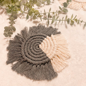 Accent Macrame Coaster - Grey
