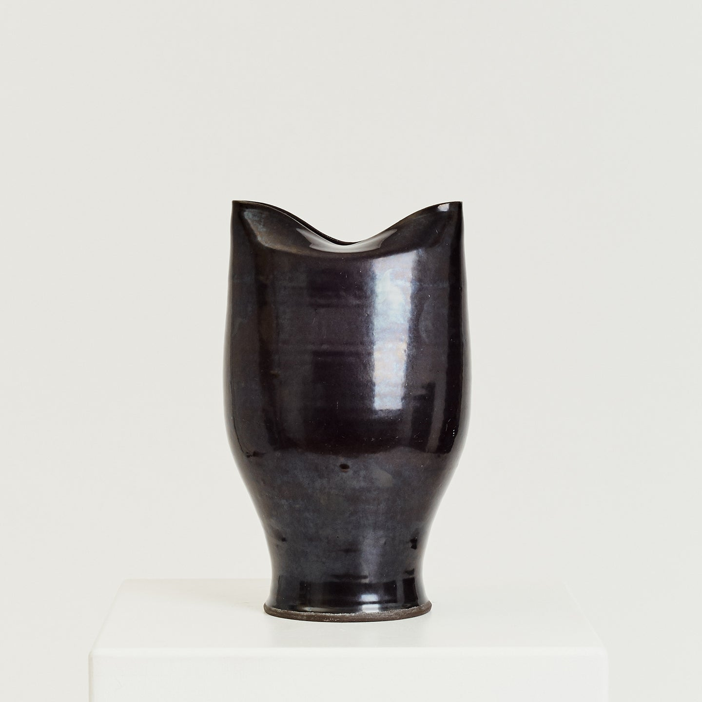 Large black gloss studio pottery vase