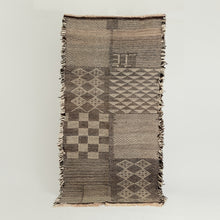 Load image into Gallery viewer, Vintage Berber fringed kelim in browns and creams