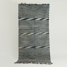 Load image into Gallery viewer, Vintage Berber tribal kelim rug with blue frame sections