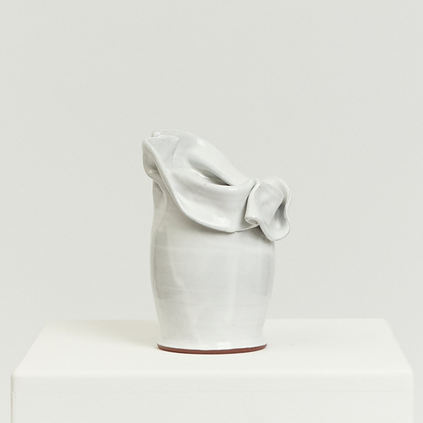 White slouchy studio ceramic vessel