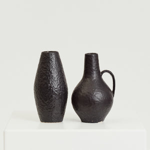 Textured black vase pair - HIRE ONLY