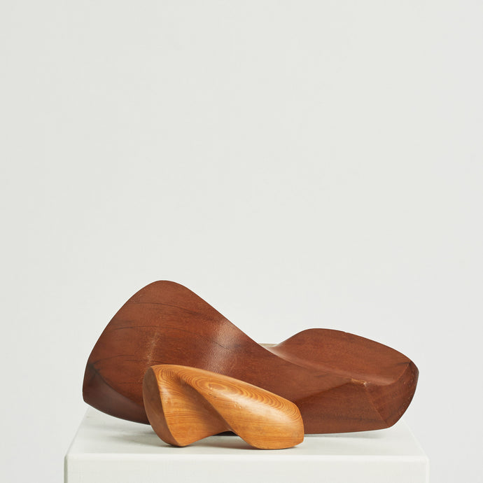 Biomorphic pair of wood sculptures