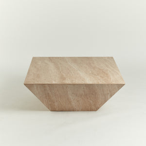 Large trapeze travertine occasional table