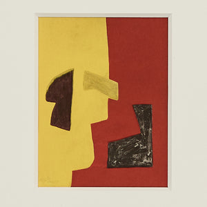 Serge Poliakoff lithograph in yellow, red & black, 1957