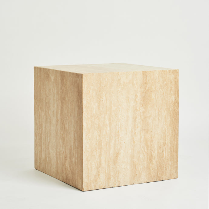 Travertine cube side tables