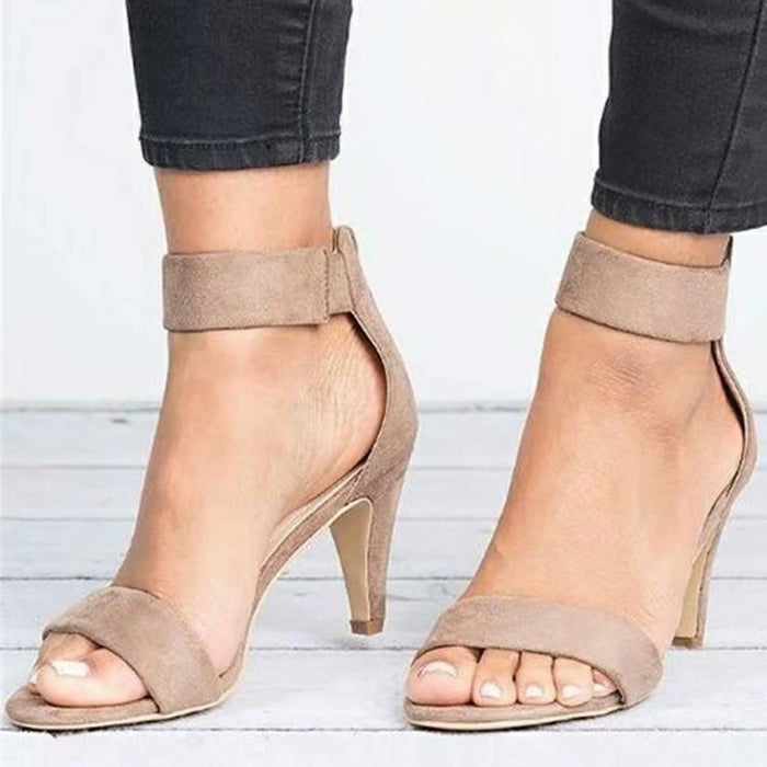 Ankle Strap Mauve Heeled Sandals