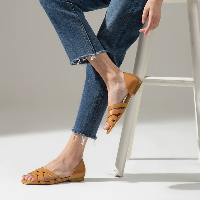 Leather Slip On Sandals