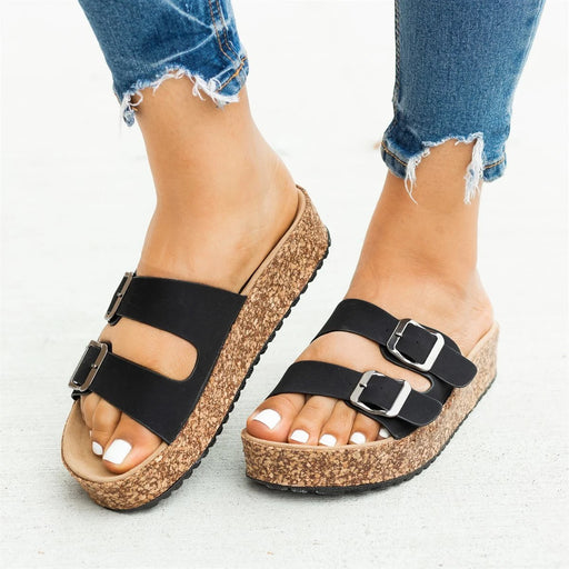 Double Buckle Smooth Taupe Sandals