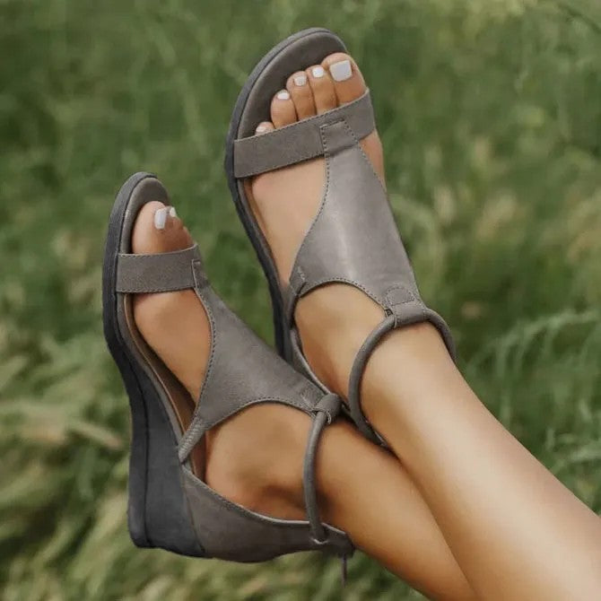 Casual Leather Comfy Wedge Sandals