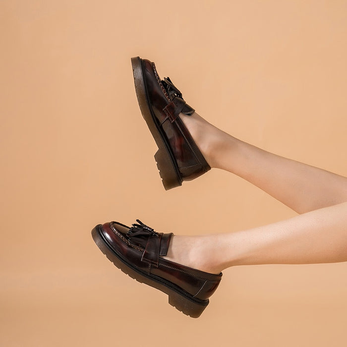 Leather Fringe Loafers