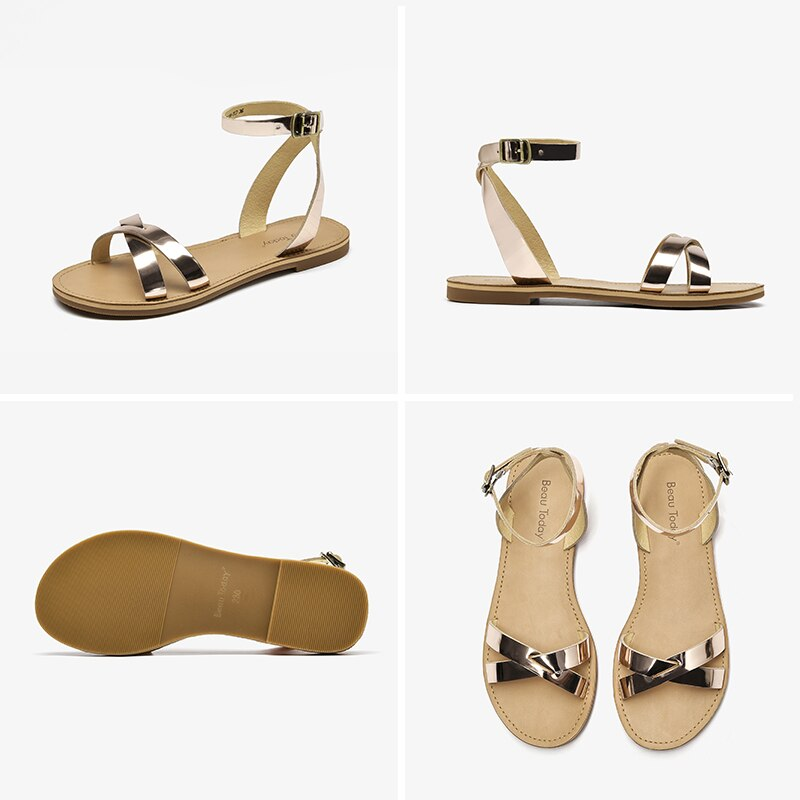Leather Cross Sandals