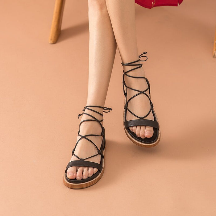 Leather Cross-Tied Sandals