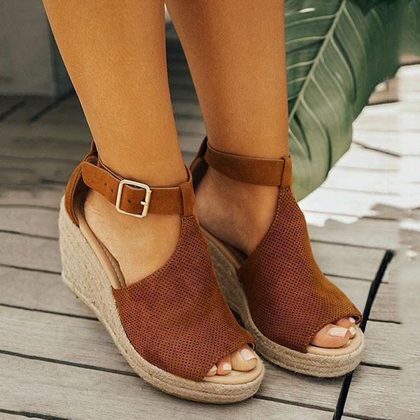 Chic Espadrille Wedges Adjustable Buckle Sandals