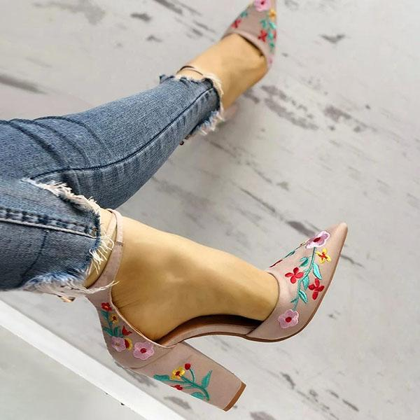 Floral Embroidered Pointed Toe Chunky Heels
