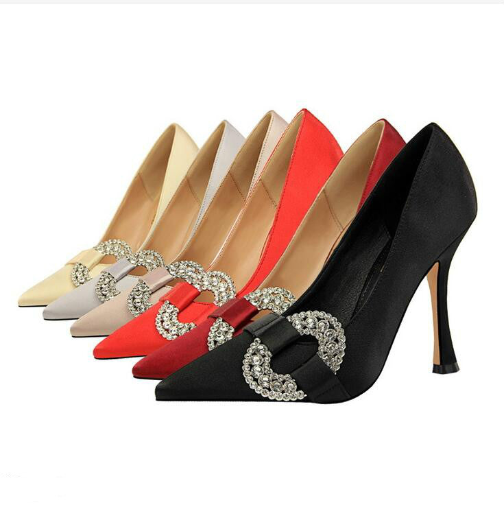 Pointed Toe Satin High Heels 9511-15