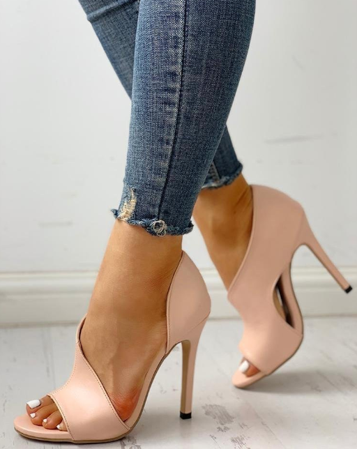 Cutout Peep Toe Thin Heels