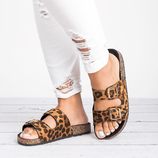 Double Buckle Leopard Footbed Sandals