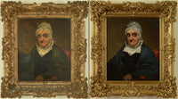 An antique painting of a lady in an ornate frame both before and after restoration