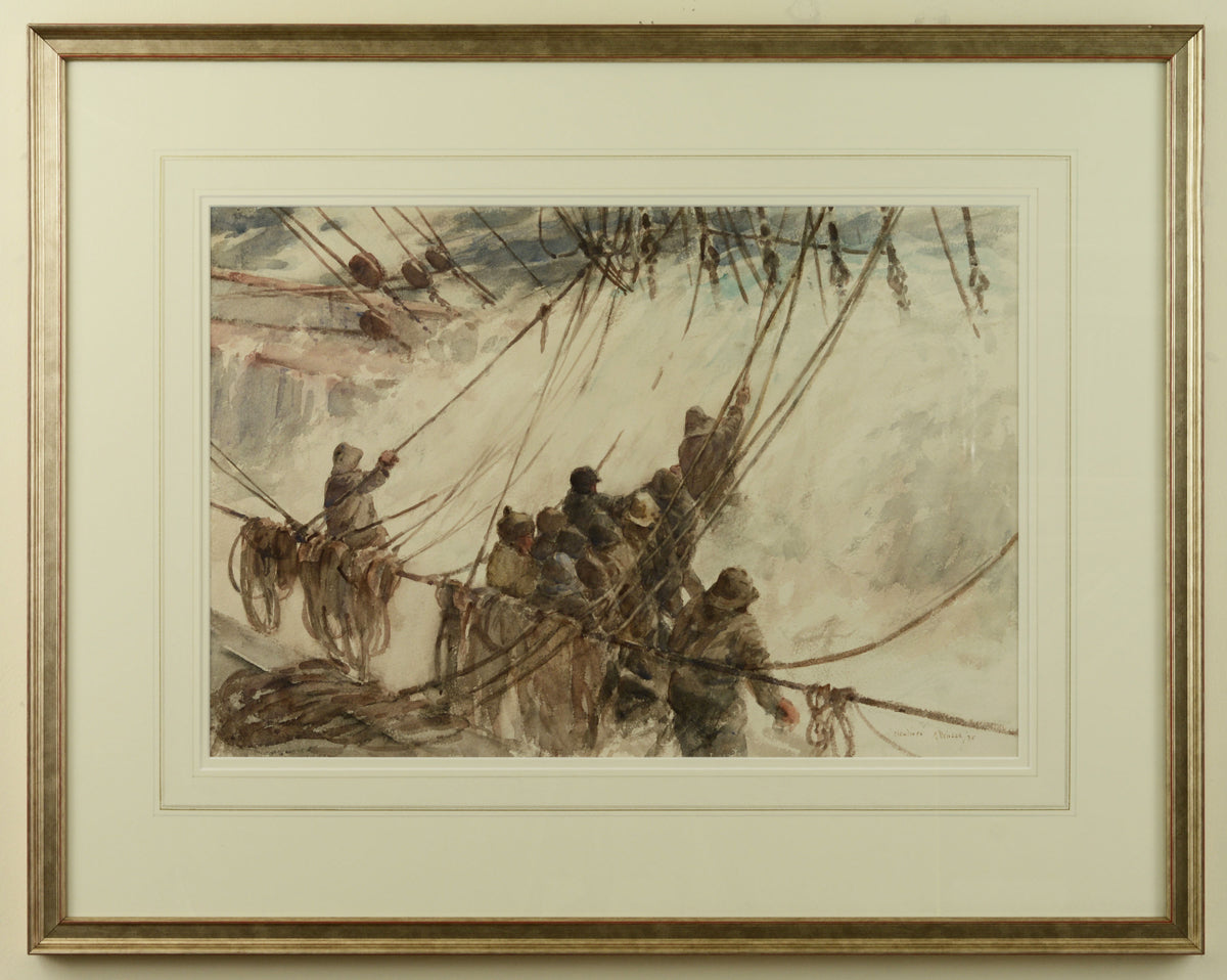 An atmospheric watercolour by Arthur Briscoe of a ship in a storm