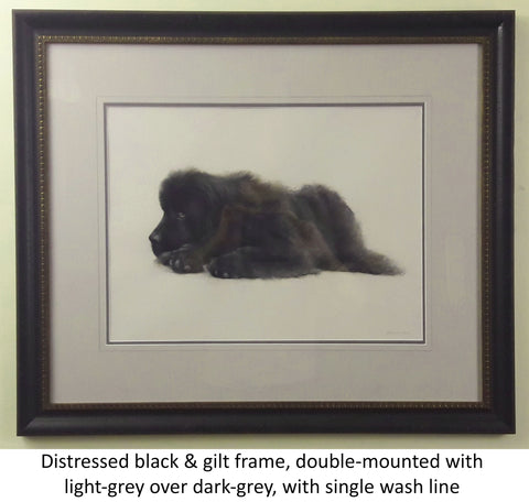 Distressed black & gilt frame with dark and light grey double mount